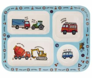 Kids Melamine Section Tray Plate Vehicles Compartment Boys Dinner Plate Diggers