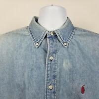 Ralph Lauren Mens Light Blue Denim Casual Dress Button Shirt Size Large L