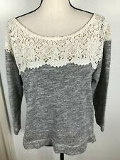 ABECROMBIE & FITCH WOMEN GRAY METALLIC SILVER LACE BOAT NECK SWEATER L 1/15S