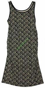 New Liz Lange Women's Maternity Tank Dress Black Beige Ruching NWT Size Medium