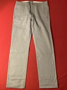 Double RL RRL Officer's Slim Chino Pants Trousers Grey W32 L31