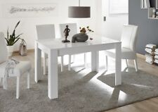 Tavolo, 6 posti a sedere, bianco laccato lucido serigrafato
