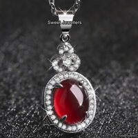 UNIQUE Xmas Gifts For Her Ruby Red Stone Necklace Wife Mum Daughter Sister Women