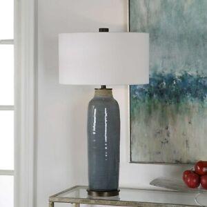 "UTTERMOST VICENTE RESTORATION DECOR 34"" DISTRESSED GLAZED CERAMIC TABLE LAMP"