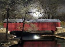 Billy Jacobs Warm Summer's Eve Covered Bridge Full Moon Print 16 x 12