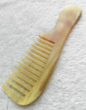 """7.3"""" Amber Natural Ox Horn Unisex Wide-toothed Handheld Massage Health Care Comb"""