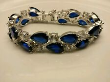 18K white gold plated blue sapphire crystals CZ tennis bracelet bridal Bangle