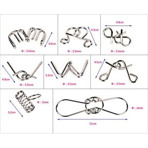 8Pcs/set Metal Wire Puzzle IQ Mind Brain Teaser Puzzles Game for Adults Kids
