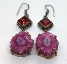 Vintage Earrings Druzy Quartz Stone Red Dangle Drop Silver Tone