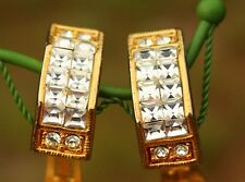Gold tone clear square rhinestones elegant clip on EARRINGS