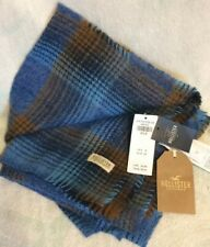NWT Hollister Scarf MSRP $25 Plaid Blues Browns