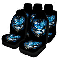 Wolf Printed Universal Car Seat Covers Full Set Protectors Washable Front