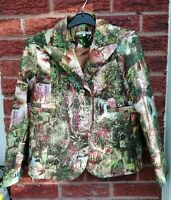Carven Jungle Blazer Jacket Rainforest Designer Ladies Lined Size 34 UK6 Small