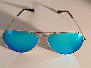 Ray Ban RB3026 62MM Aviator Unisex Sunglasses Silver Frame/ Ocean Blue Lens