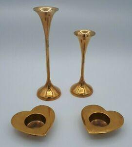 Vintage Solid Brass Heart Shaped Tea Light Holders & Pair Brass Candlesticks