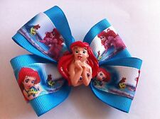 "Girls Hair Bow 4"" Wide Ariel Little Mermaid Aqua Blue Grosgrain French Barrette"