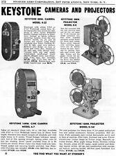 1950 Print Ad of Keystone Model K22 A7 Camera & R8 K160 Movie Projector