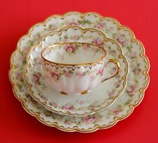 Antique HAVILAND LIMOGES Set Cup/saucer+Plate Pink Morning Glories Double GOLD