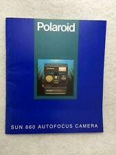 Oem Polaroid Autofocus Camera Model Sun 660 Instruction Manual Guide Book in Eng