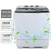 26 LBS Compact Washing Machine Portable Twin Tub Laundry Spin Dryer w/Drain Pump