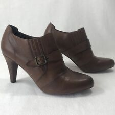 Audrey Brooke Women's Sz 7.5 M Brown Leather Booties Heels Pumps