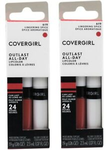 2 x COVERGIRL PK2 OUTLAST ALL-DAY LIPCOLOR 619 LINGERING SPICE BRAND NEW