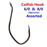 100pcs Catfish Hook Saltwater Big River Bait Strong Circle Fishing Hook Assorted