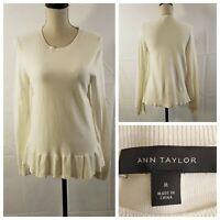 Ann Taylor Ivory Color Crew Neck Long Sleeve Ruffle Hem Blouse Womens Medium Top