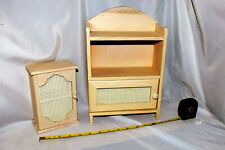 Wooden Doll Furniture 2 Piece Cabinet Set