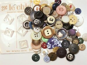 Vintage Mixed Buttons, Used Garment Buttons x 100 pieces, Mixed Button Lot #4