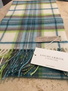Locharron Scotland New Lambswool scarf New Warm Tartan Check Lime Green Blue