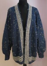 VTG Ladies Unbranded Blue/Silver Acrylic Mix Open Cardigan Size XL (25a)