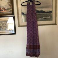 Vtg Handwoven Purple Orange Floral Halter Maxi Dress Sz 9/10 A917