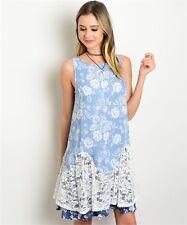 CES FEMME Sky Blue Sleeveless Summer Casual boho Beach Dress, Made in USA, Large