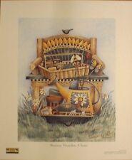 art print~SUNNY GARDEN CHAIR~Bench~Debbie Mumm gardening watering can folk 11x13
