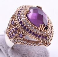 WOMAN LADIES RING AMETHYST STONE TURKISH JEWELRY 925 SILVER HANDMADE ALL SİZE