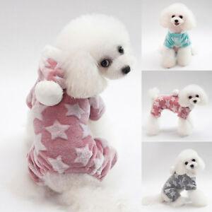 Small Puppy Dog Winter Warm Fleece Clothes Hooded Coat Jumpsuit Romper A12CA