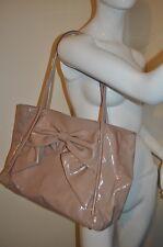 $1,095 Valentino 'Betty Lacca Bow - Small' Nude Lacquered Canvas Tote Bag Purse