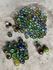 LARGE BUNDLE OF 125 GLASS TOY MARBLES