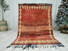 Marocan Handmade Boujaad Rug 4'x5'7 Moroccan Berber Rug Shades of Brown Wool Rug