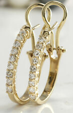 .75Carat Natural VS2 Diamonds 14K Solid Yellow Gold Leverback Earrings