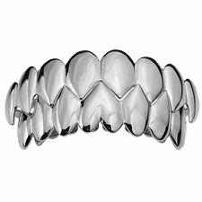 Shark Grillz 8 Top & Eight Bottom Teeth Set Silver Tone Vampire Fangs Grills