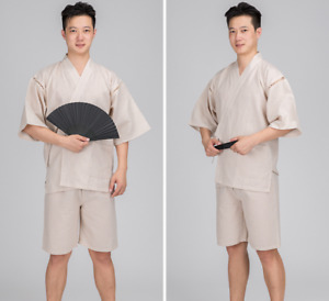 Men Japanese Summer Jinbei Sleepwear Kimono Short Sleeve Pants Pajama Loungewear