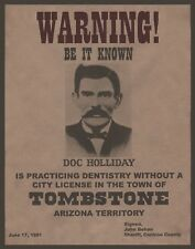 """DOC HOLIDAY wanted poster, 14""""x11"""" - Western outlaw - OLD WEST - Arizona"""