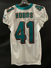 #41 KEVIN HOBBS MIAMI DOLPHINS GAME USED WHITE REEBOK JERSEY YEAR 2003 SZ 44