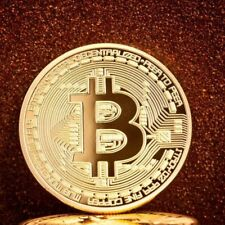 1Pc Gold Bitcoin Commemorative Round Collectors Bit Coin Copper Gold Plated Coin