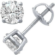 1.03 Carat G-H SI1 Round Diamond Basket Men's Single Stud Earring 14K White Gold