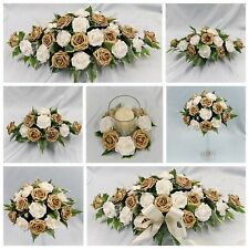 Gold Wedding Flowers Top Table Decoration Pedestal Candle Ring Arrangement