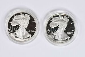 Lot of 2 $1 Proof Silver Eagles 1990-S &1996-P in holders 99c NO RESERVE