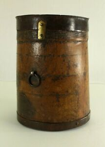= Antique 1800's Firkin Small Measuring Pail Cup Turned Wood & Forged Iron Bands